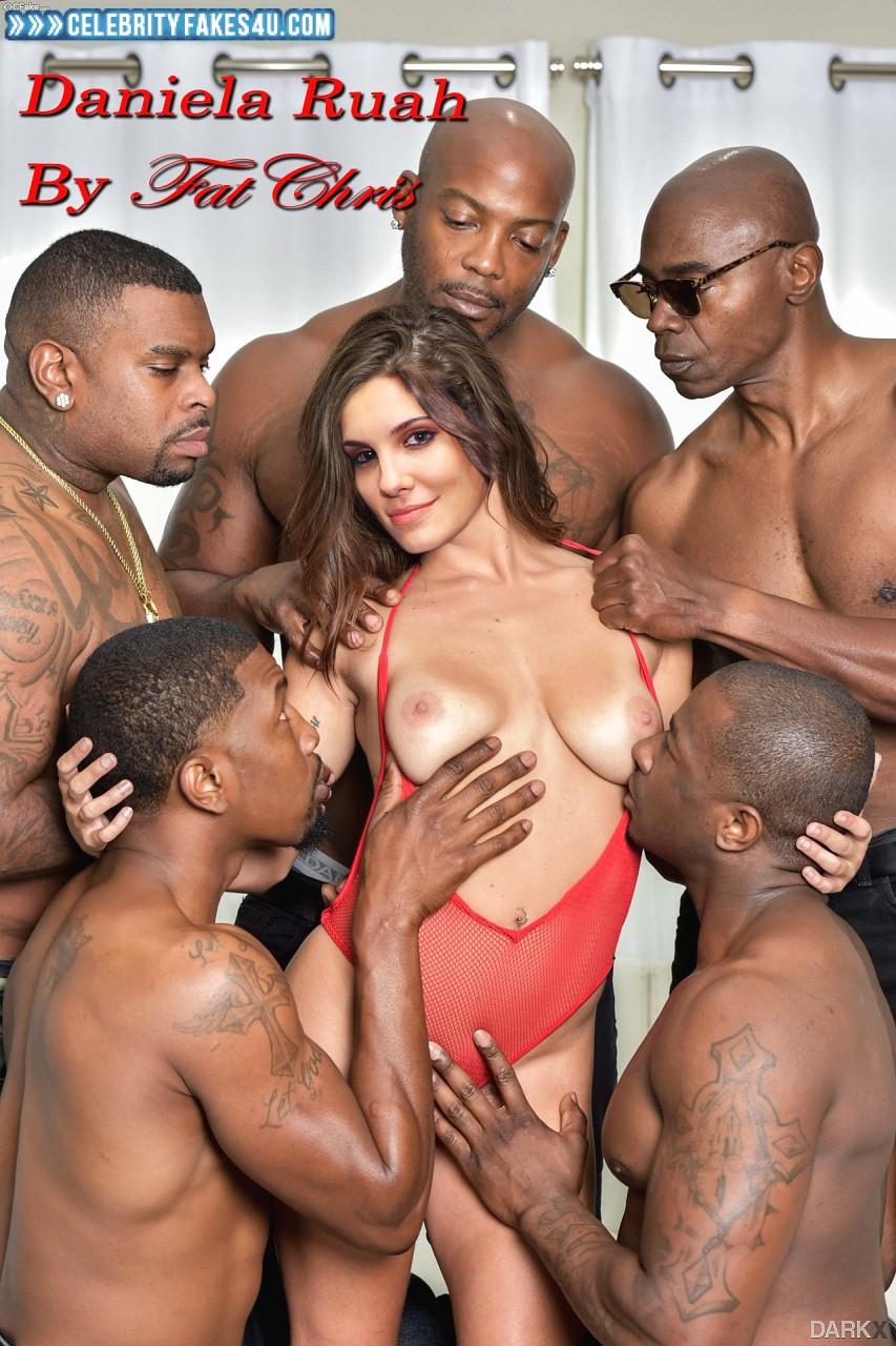 Daniela Ruah Fake, Gangbang, Horny, Interracial Sex, Squeezing Breasts, Undressing, Porn