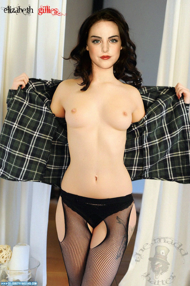 Elizabeth Gillies Fake, Flashing Tits, Lipstick, Nude, Panties, Small Tits, Stockings, Tits, Porn