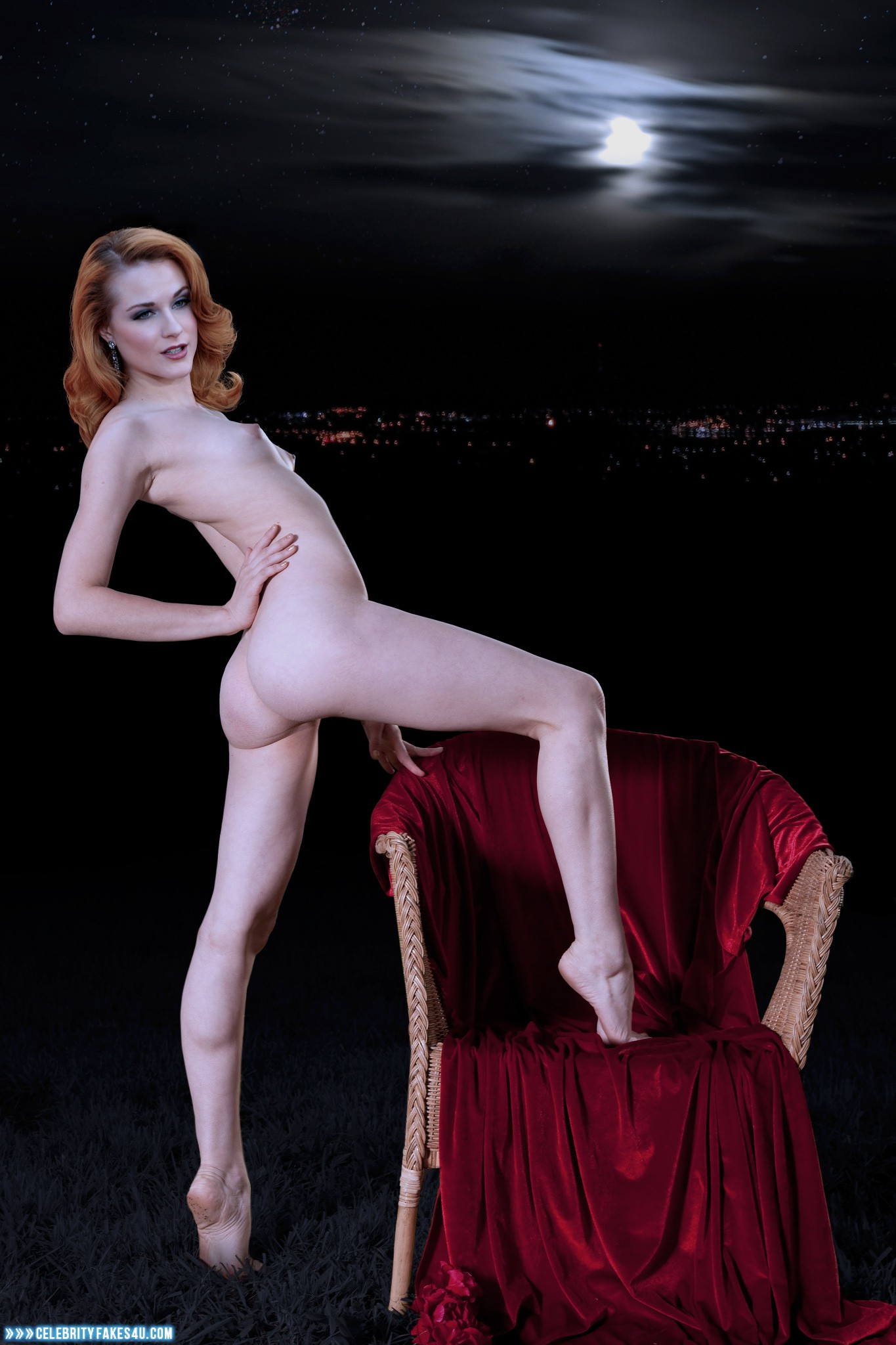 Naked nude girl with cut hair