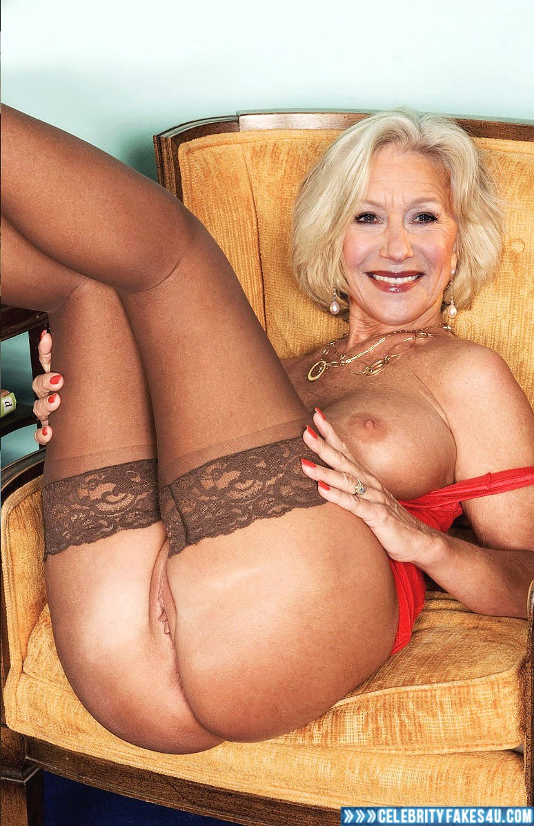 Helen Mirren Fake, Ass, Sexy Legs, Shaved Pussy, Stockings, Porn