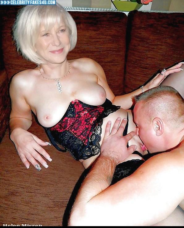 Helen Mirren Fake, Lingerie, Panties Pulled Aside, Pussy Eaten, Tits, Porn