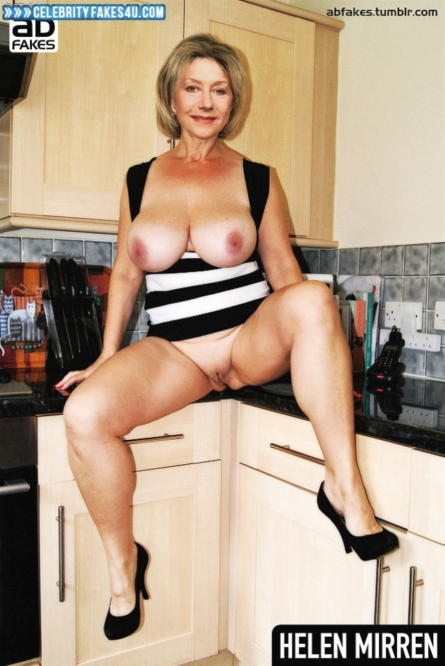 Helen Mirren Fake, BBW, Big Tits, Camel Toe, Heels, Legs Spread, Sexy Legs, Shaved Pussy, Porn