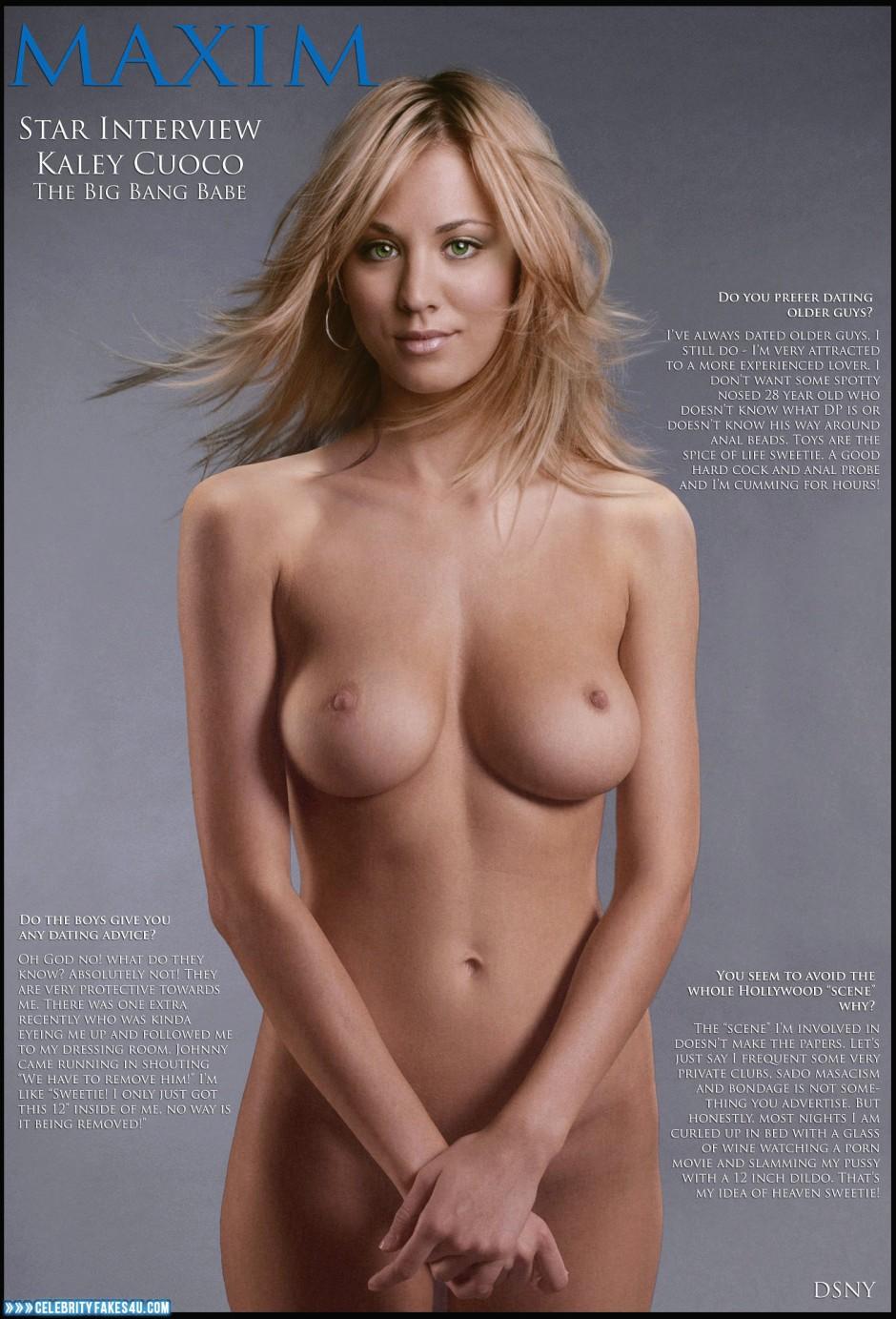 Kaley Cuoco Nice Tits Magazine Cover Nude Fake 001 -1626