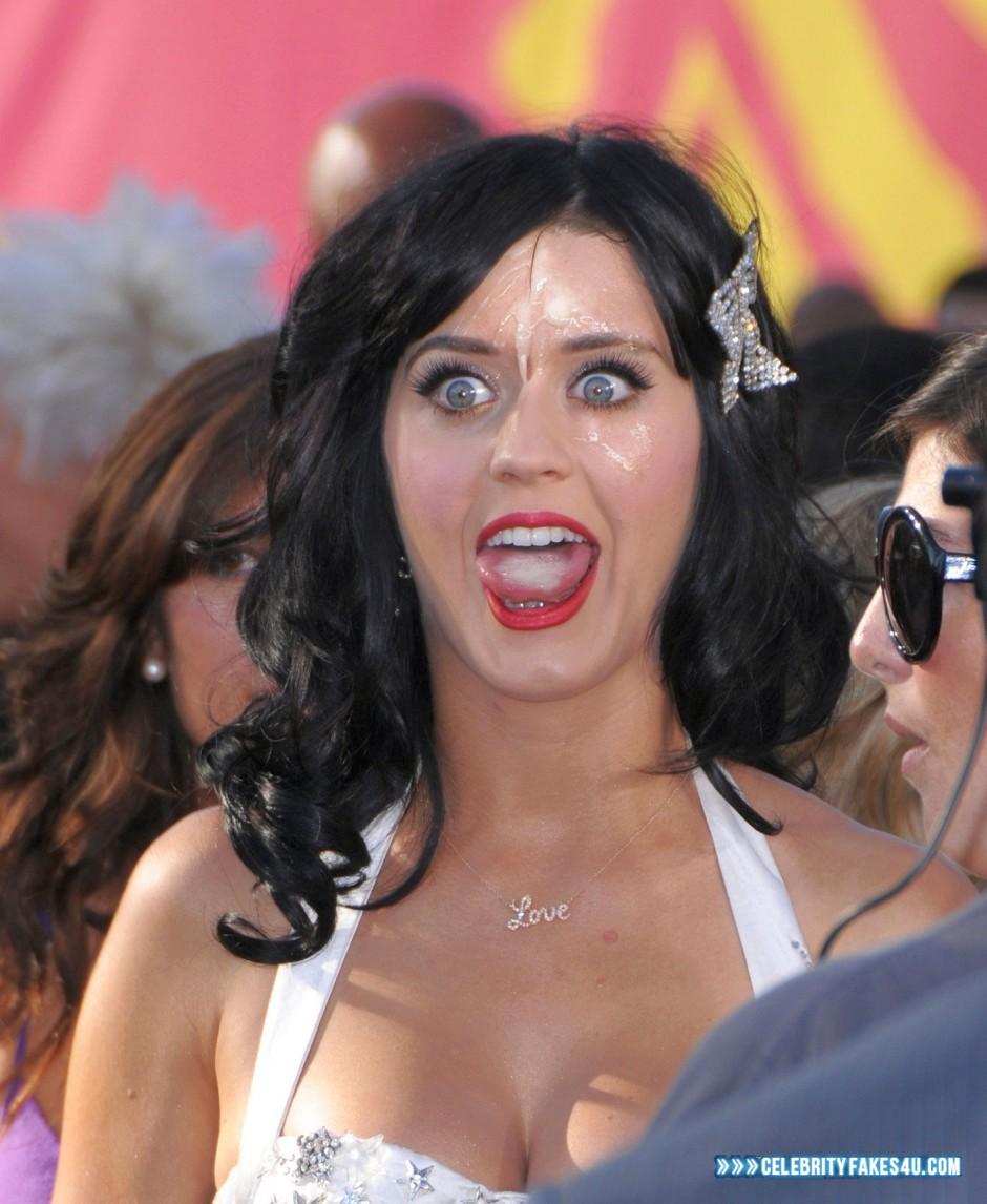 Katy Perry Fake, Cum Facial, Cumshot, Licking Cum, Lipstick, Public, Porn
