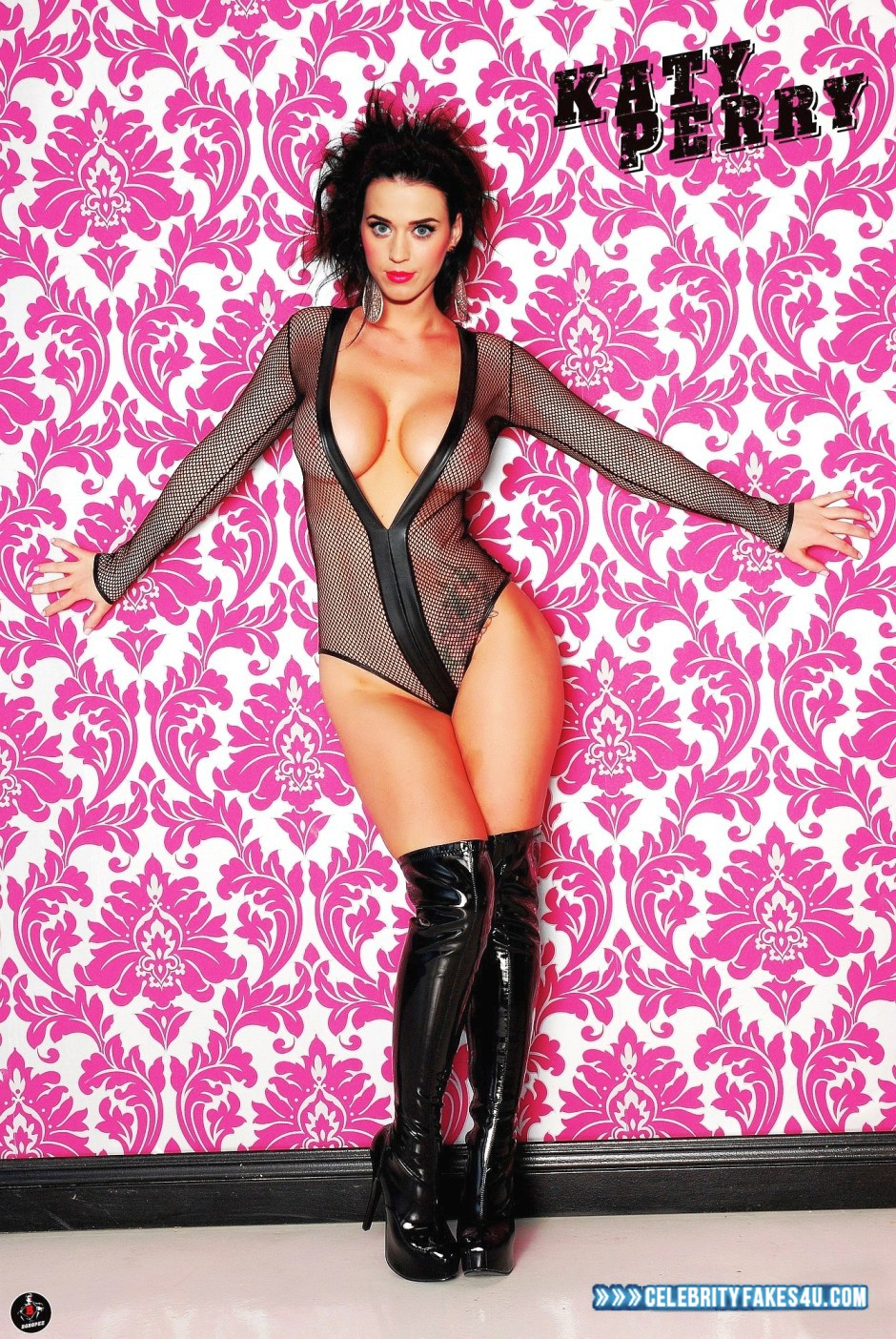 Katy Perry Fake, Completely Naked Body / Fully Nude, Knee-High Boots, Lipstick, Nude, Tits, Porn