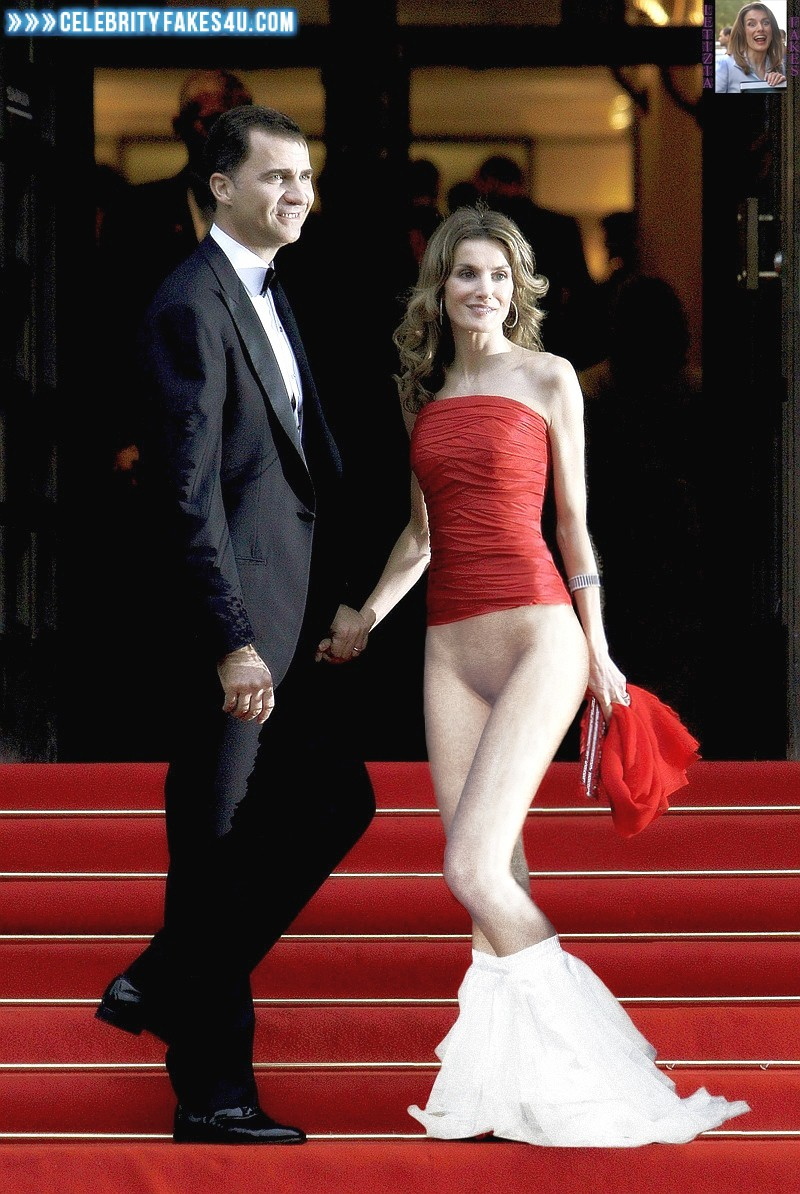 Letizia Ortiz Fake, Panties Pulled Down, Red Carpet Event, Sexy Legs, Porn
