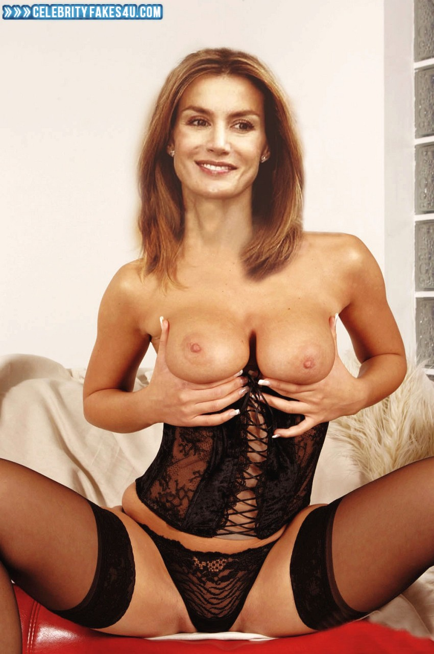 Letizia Ortiz Fake, Lingerie, Squeezing Breasts, Stockings, Thong, Porn