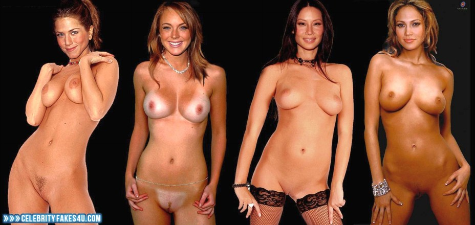 Lindsay Lohan Fake, Completely Naked Body / Fully Nude, Lesbian, Multi, Tan Lines, Porn