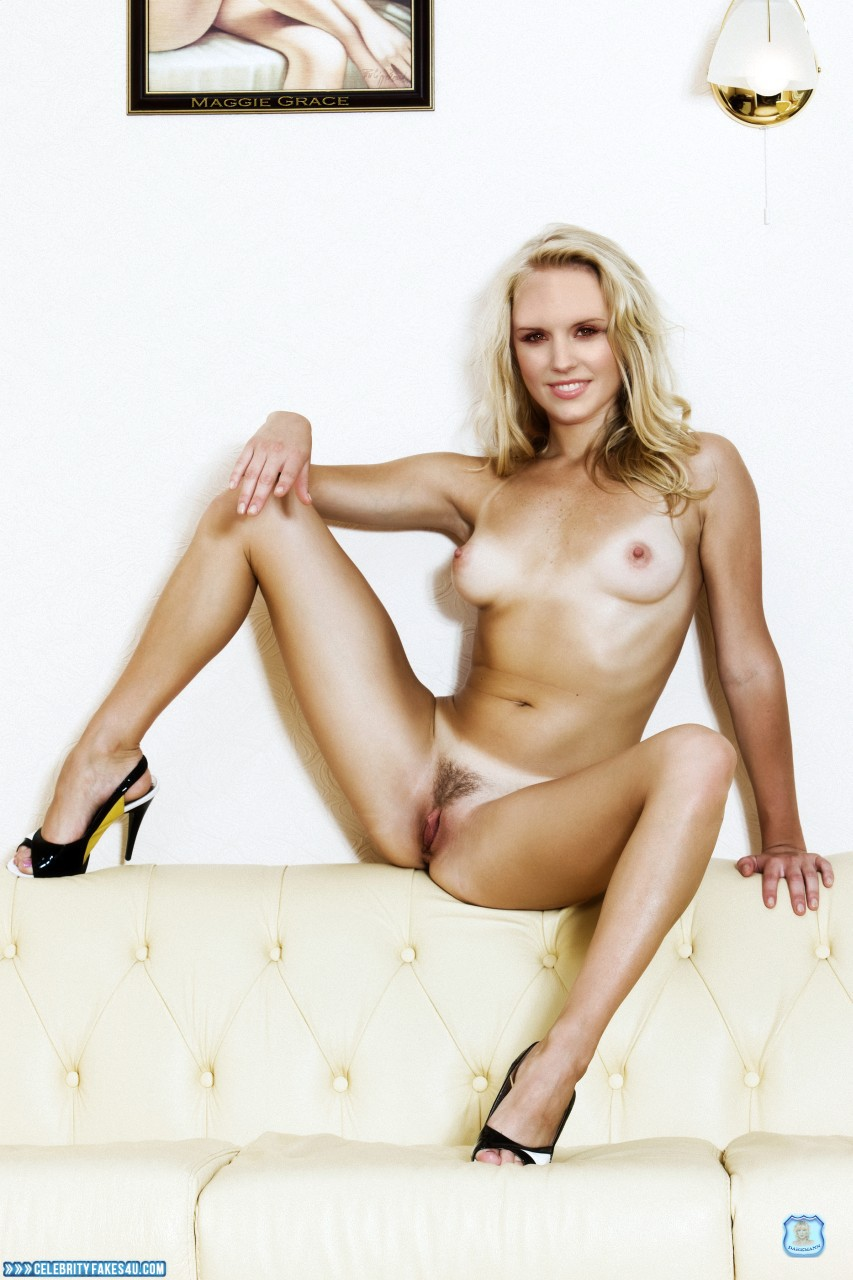 Maggie Grace Fake, Blonde, Heels, Legs Spread, Nude, Pussy, Tan Lines, Tits, Porn