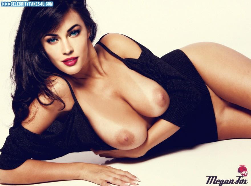 Megan Fox Fake, Big Tits, Horny, Lipstick, Nude, Pantiless, Tits, Porn