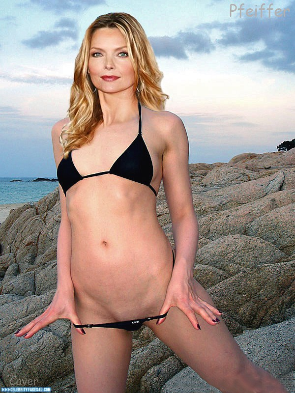 Michelle Pfeiffer Fake, Beach, Bikini, Panties Pulled Down, Sexy Flat Stomach, Porn
