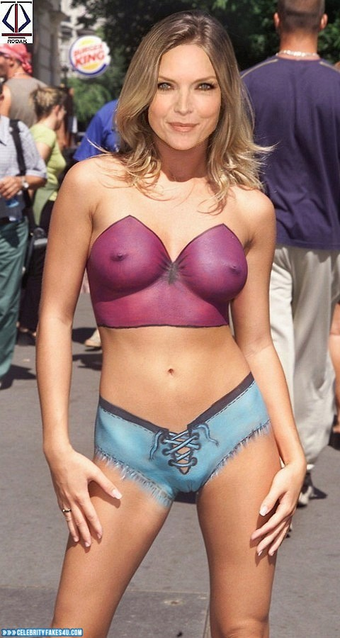 Michelle Pfeiffer Fake, Completely Naked Body / Fully Nude, Public, Tits, Porn