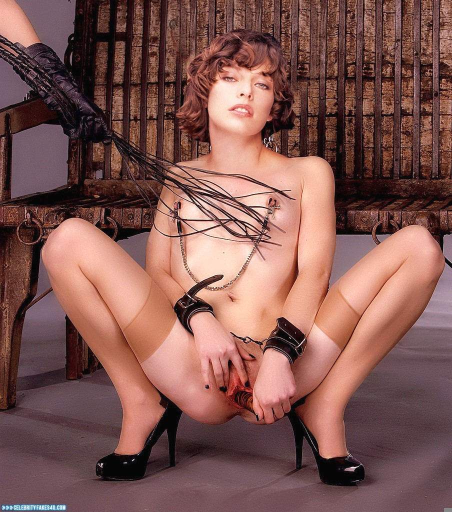 Milla Jovovich Fake, Heels, Horny, Nipple Torture, Sex Toy, Sexy Legs, Small Tits, Stockings, Tight Pussy, Porn