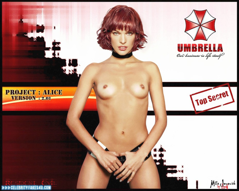 Milla Jovovich Fake, Small Tits, Topless, Very Nice Tits, Porn