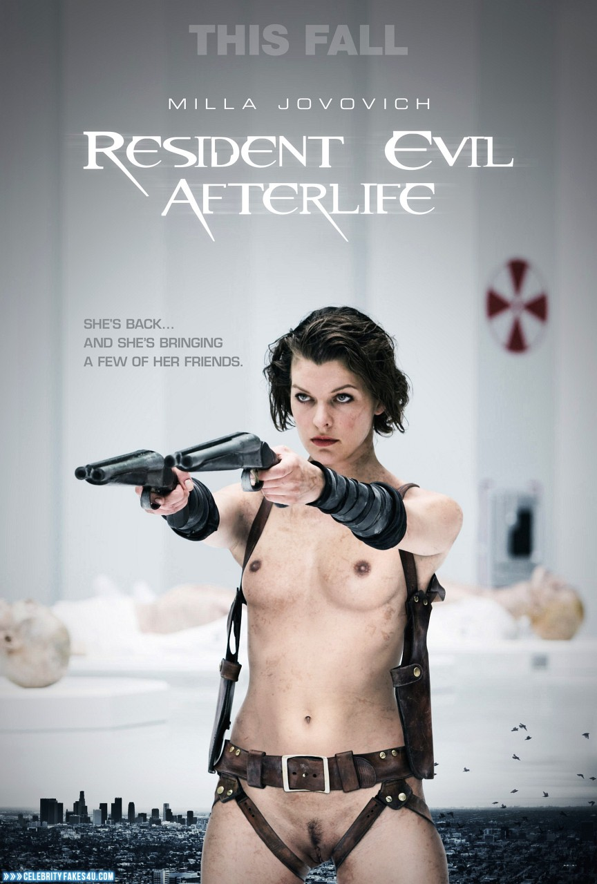 Milla Jovovich Fake, Movie Cover, Pantiless, Resident Evil, Tits, Porn