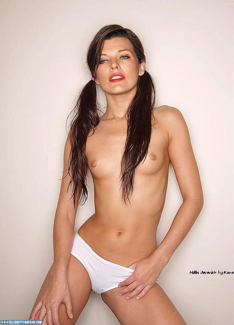 Milla Jovovich Fake, Lipstick, Panties, Topless, Porn
