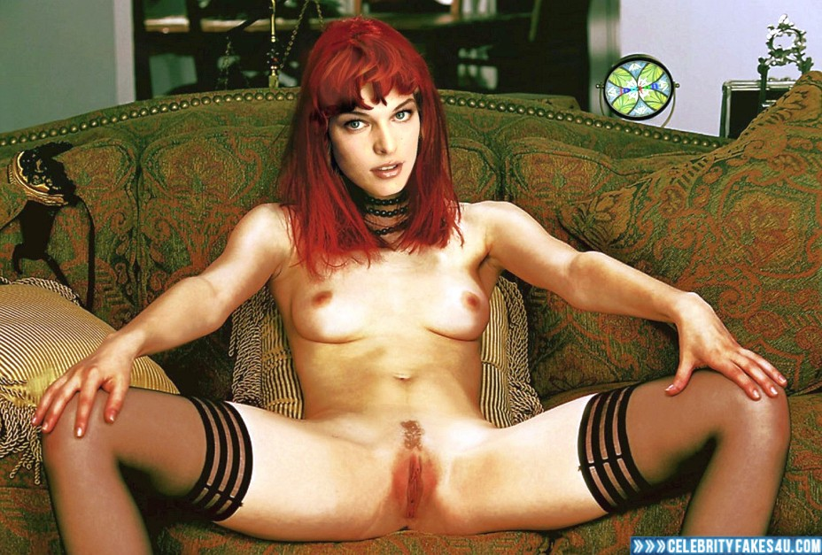 Milla Jovovich Fake, Legs Spread, Readhead, Stockings, Tits, Porn