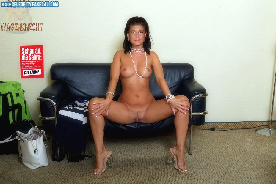 Sahra Wagenknecht Fake, Completely Naked Body / Fully Nude, Heels, Legs Spread, Sexy Legs, Very Nice Tits, Porn