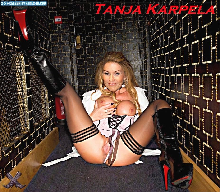 Tanja Karpela Fake, Panties Pulled Aside, Squeezing Breasts, Stockings, Porn