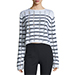 T By Alexander Wang Distressed Striped Boxy Sweater