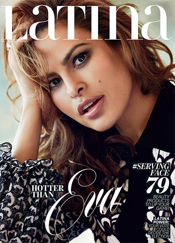 Eva Mendes wears a Giambattista Valli Black Floral Ruffle Dress on the cover of Latina magazine, September 2016.