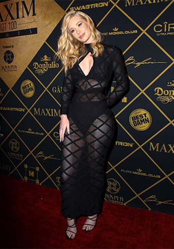 Iggy Azalea in a House Of CB Bandage and Sheer Mesh Maxi Dress at The 2016 MAXIM Hot 100 Party, July 20 2016.