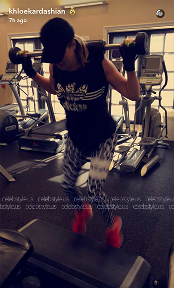 Seen on Khloe Kardashian Snapchat - Adidas Tee With Inked Print Trefoil Logo and Maasai Activewear Leopard Fever Tights, August 2016.