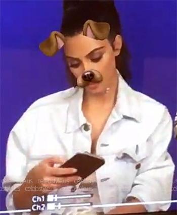 Levi's jacket and Maiyet Silk-charmeuse Dress as seen on Kim Kardashian Snapchat, August 2016.