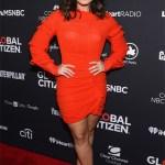 Demi Lovato 2016 Global Citizen Festival: Isabel Marant Red Qods Ruched Dress (September 24, 2016)