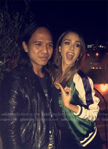 Jessica Alba Snapchat: Lovers + Friends X Revolve Forest Green Bomber Jacket