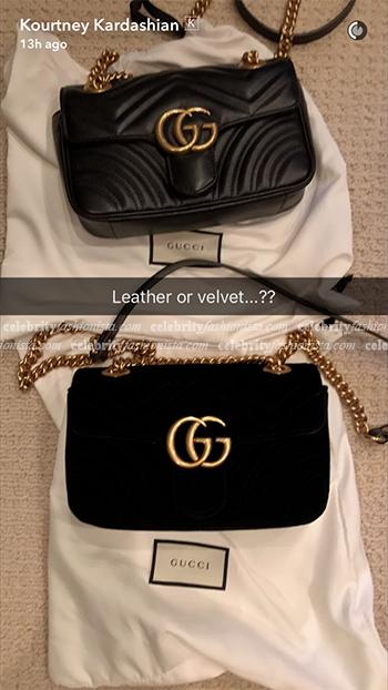Kourtney Kardashian Snapchat: Gucci GG Marmont Matelassé Mini Bags (September 29, 2016)