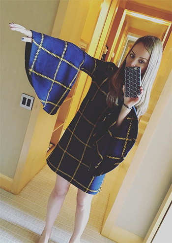 Nicole Lapin: JOUR/NE Poet Sleeve Tartan Dress