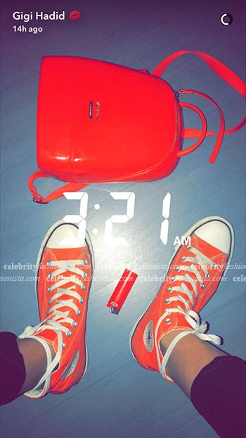 Gigi Hadid Snapchat: Furla Small Orange Candy Backpack