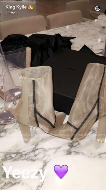 Kylie Jenner Snapchat — Yeezy Mesh Ankle Boot, Bone