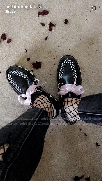 Bella Thorne Snapchat November 2, 2016 (T.U.K. Hello Kitty Stripe Creeper Shoes)