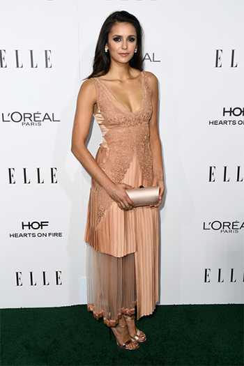 Nina Dobrev in Stella McCartney Sable Satin Dress at 23rd Annual Elle Women in Hollywood Awards — October 24, 2016.