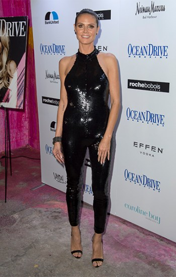 Heidi Klum in Saint Laurent Sequined Stretch-Mesh Jumpsuit