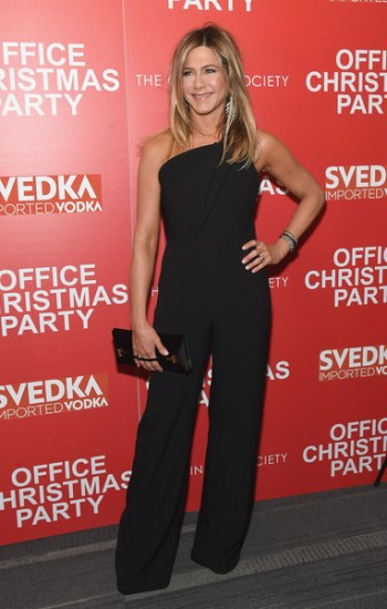 Jennifer Aniston in Brandon Maxwell One-Shoulder Wide Leg Jumpsuit at 'Office Christmas Party' New York Screening — December 5, 2016
