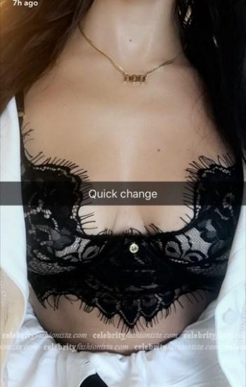Kourtney Kardashian in Gooseberry Intimates Be Mine Longline Bra (Snapchat October 2016)