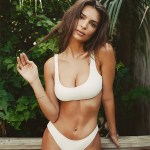 Emily Ratajkowski, Solid & Striped Elle Bikini in White (Instagram Jan 3, 2017)