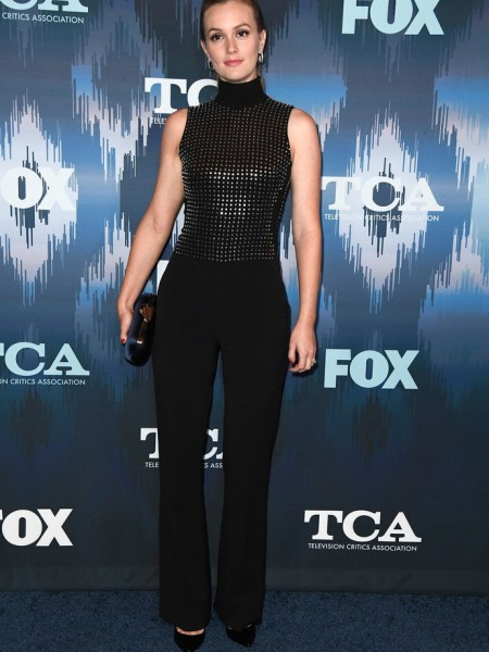 Leighton Meester in David Koma Studded Jumpsuit at 2017 Winter TCA Tour - FOX All-star Party (Jan 11, 2017)