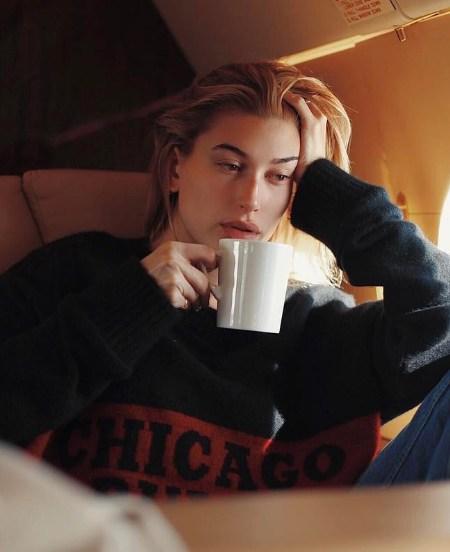 Hailey Baldwin The Elder Statesman X NBA Mens Chicago Bulls Cashmere Sweater (Instagram January 13, 2017)