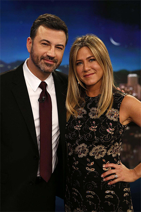 Jennifer Aniston in Givenchy Floral Embroidered Shift Dress on Jimmy Kimmel Live — December 8, 2016