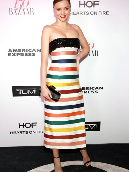 Miranda Kerr in Carolina Herrera Striped Strapless Gown at Harper's Bazaar 150 Most Fashionable Women (Jan 27 2017)