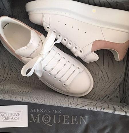 #towie Chloe Lewis, Alexander McQueen Extended Sole Sneakers in Blush (Instagram, Feb 3, 2017)