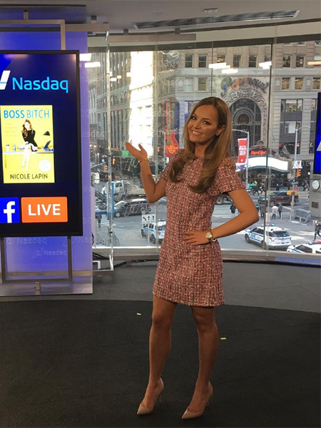 Nicole Lapin in Alexander McQueen Tweed Sheath Dress on Nasdaq March 20, 2017