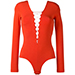T By Alexander Wang Lace Front Bodysuit in Red