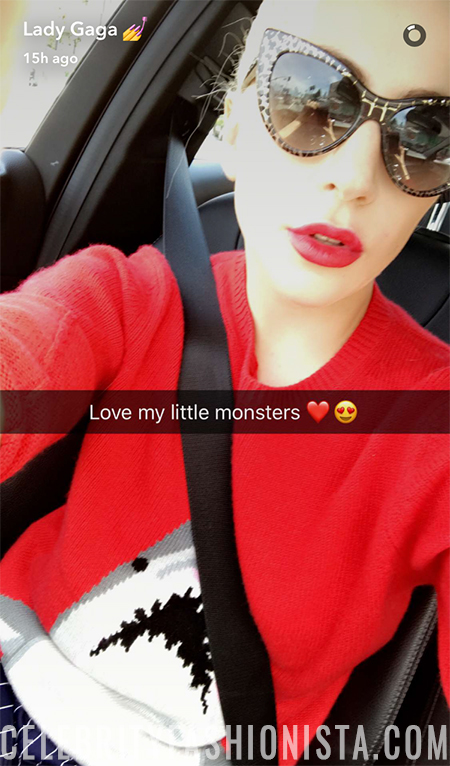 Lady Gaga in Coach Shark crewneck sweater (Snapchat March 2017)