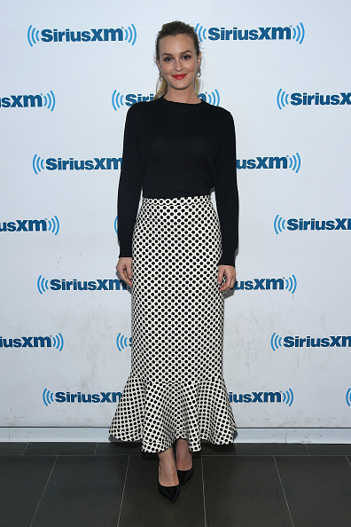 Leighton Meester in Saloni Ivory White Polka Dots Midi Skirt at SiriusXM (Feb 23, 2017)