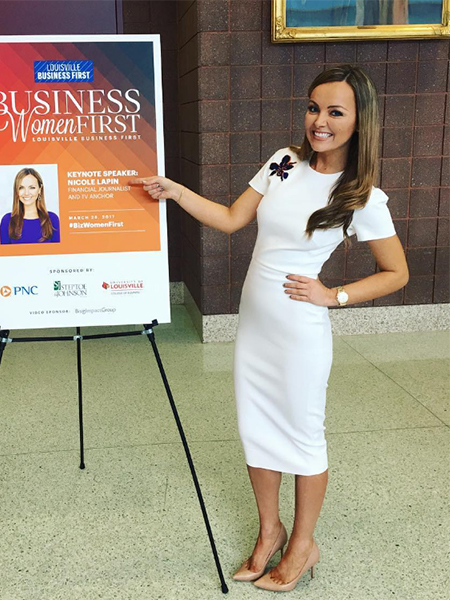 Nicole Lapin in Victoria Beckham embellished embroidery dress at Business Women First in Louisville, Kentucky - Instagram March 28, 2017
